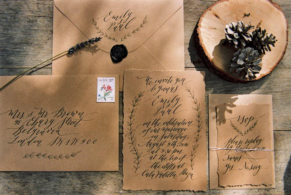 Hochzeitseinladung Köln mit schlichter Kalligrafie