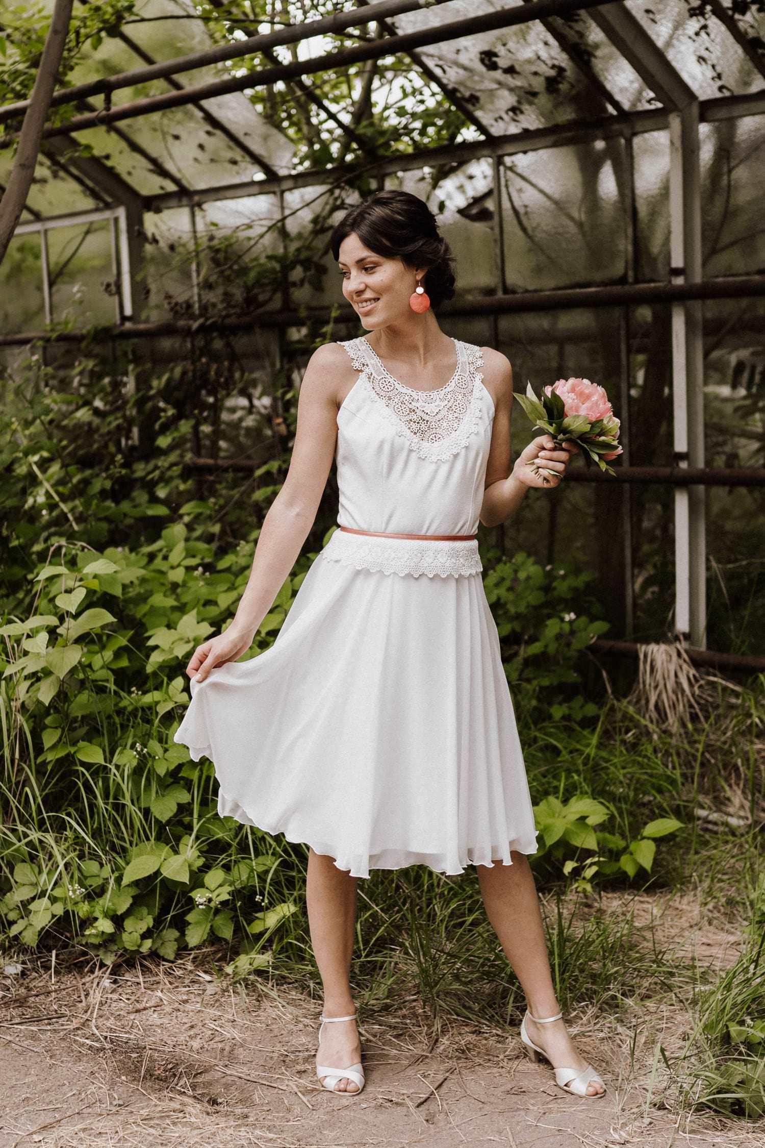 Lara - Boho Hochzeitskleid kurz mit Spitze - Claudia Heller