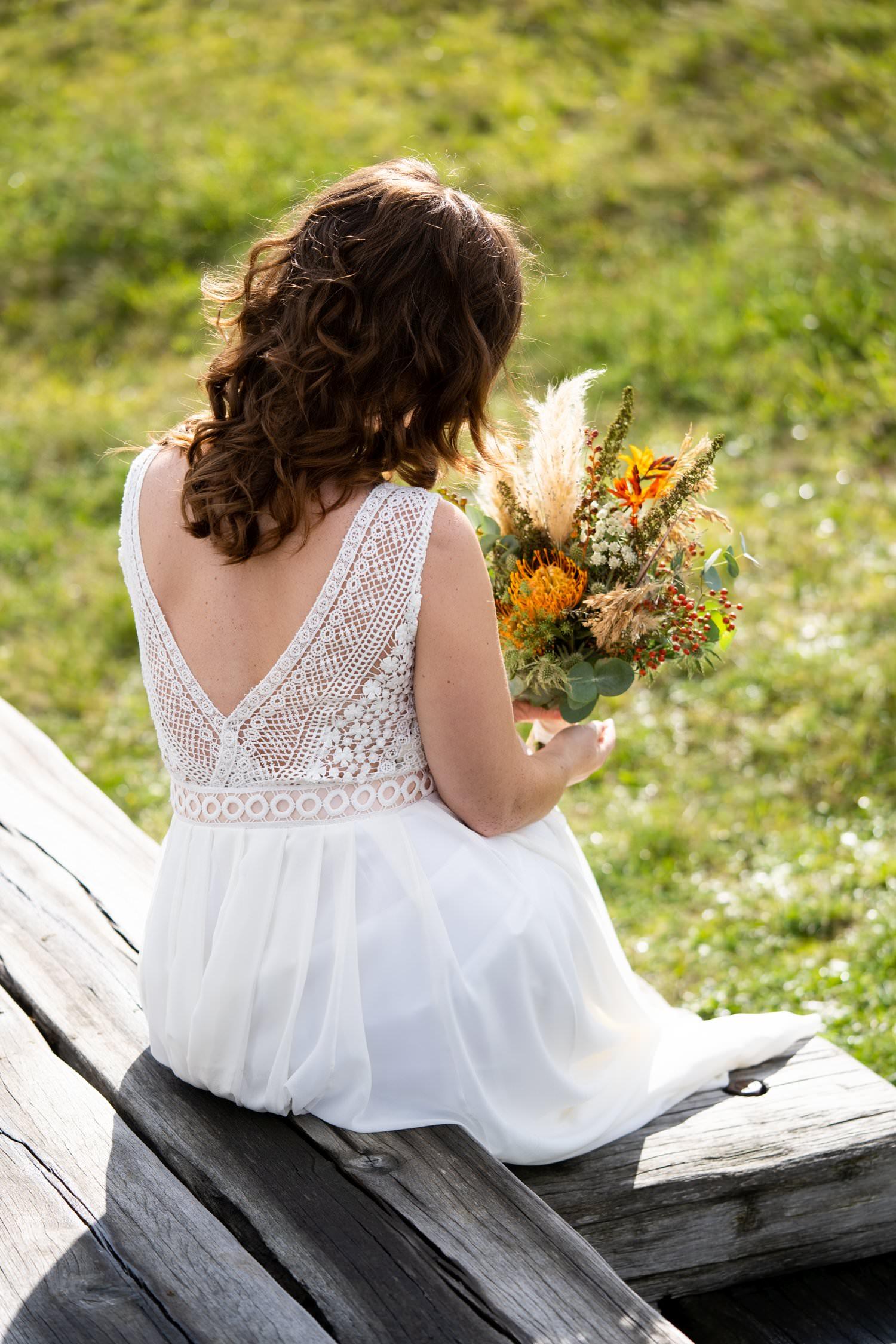 Boho Hochzeitskleid mit tiefem Rückenausschnitt