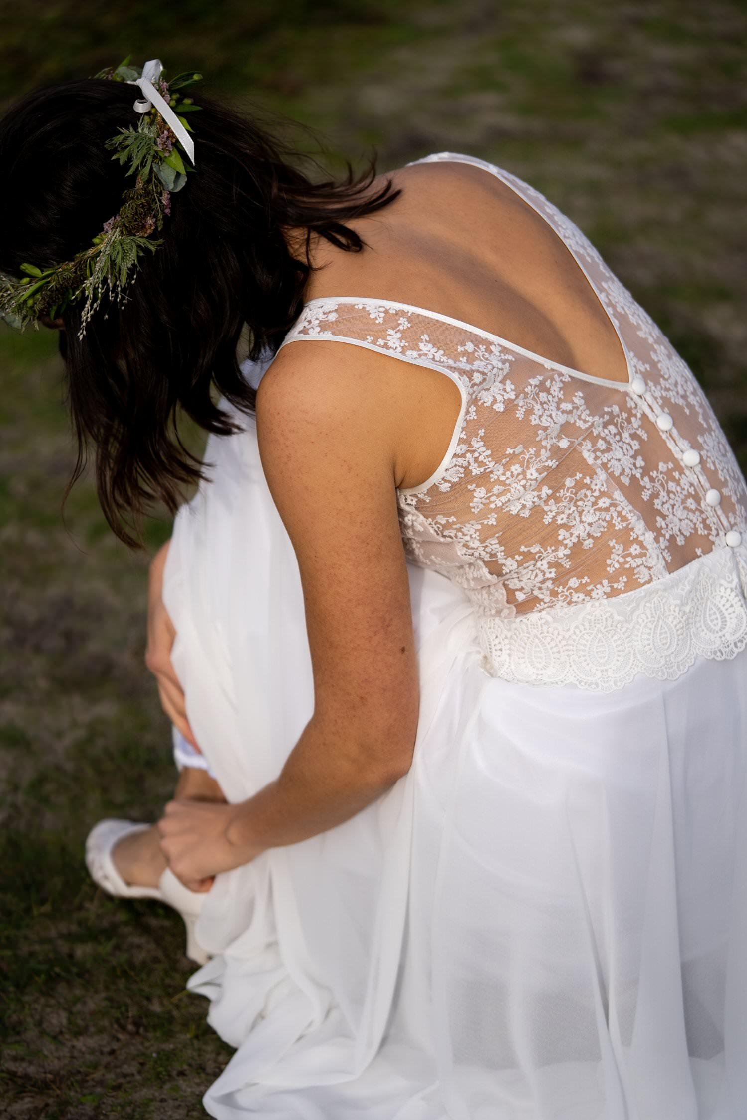 Vintage Hochzeitskleid lang mit zarter Spitze