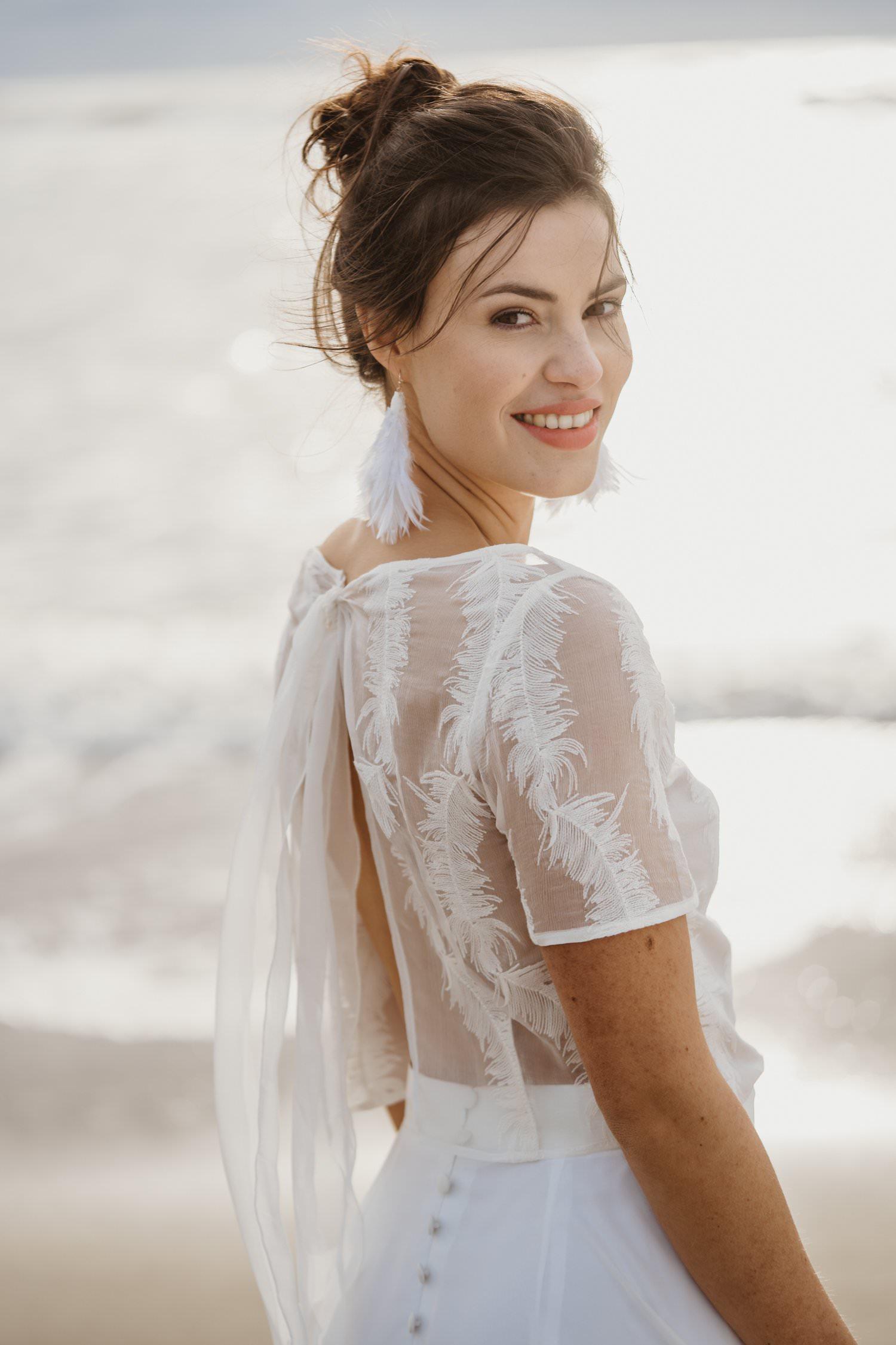 Hochzeitskleid Strand aus Seiden-Chiffon