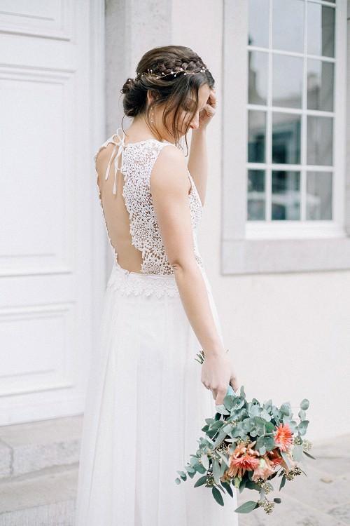 Brautkleid mit tiefem Rücken-Ausschnitt von Claudia Heller