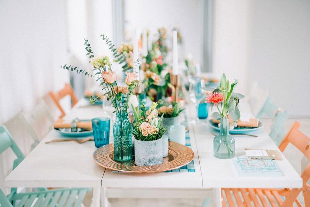 Hochzeit Tischdeko in Kupfer und Türkis