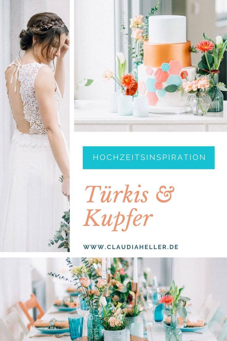 Moderne Hochzeitsdeko in Türkis und Kupfer mit Brautkleid von Claudia Heller
