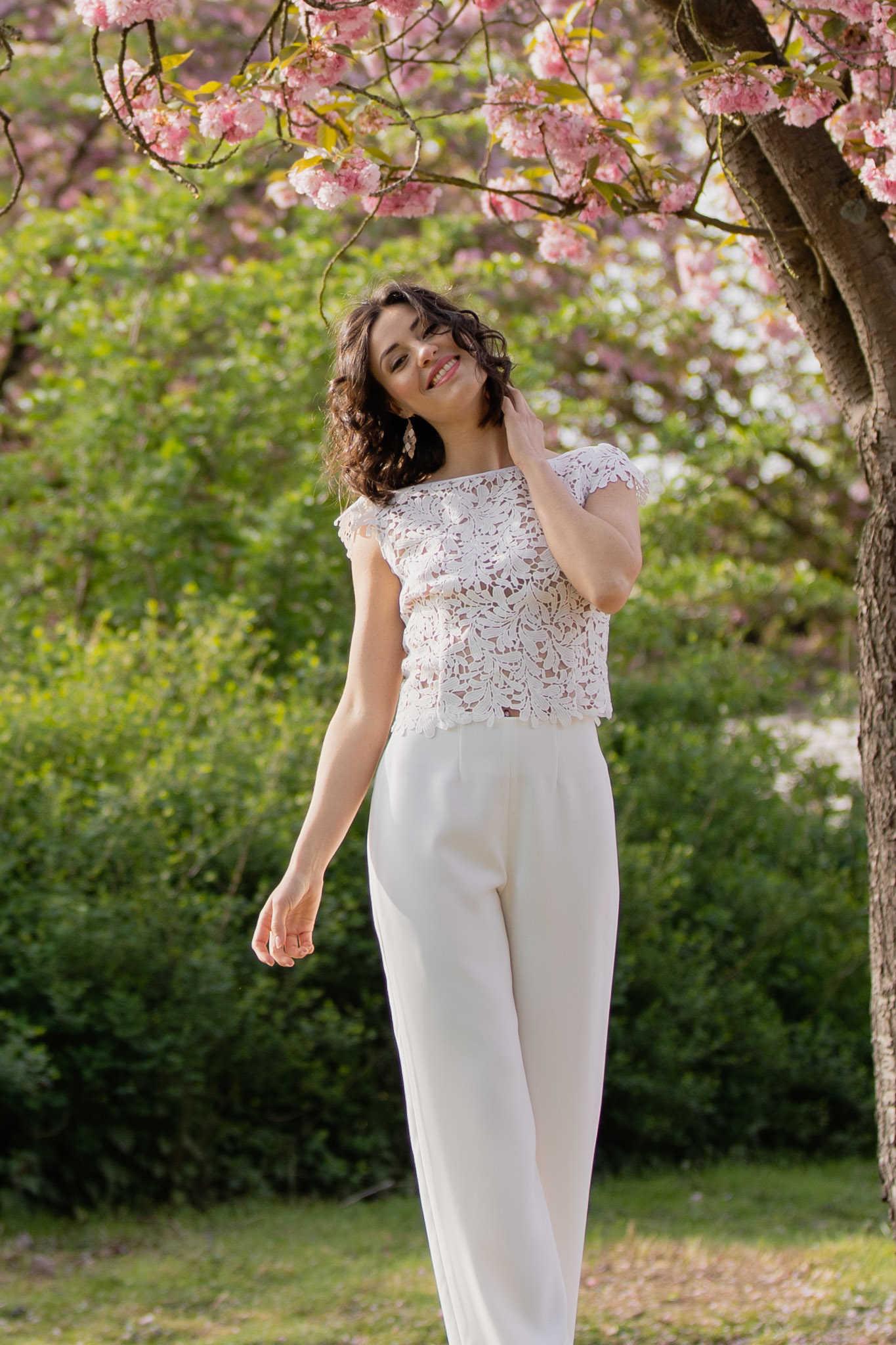 Braut-Kombination mit Hose und Spitzen-Top