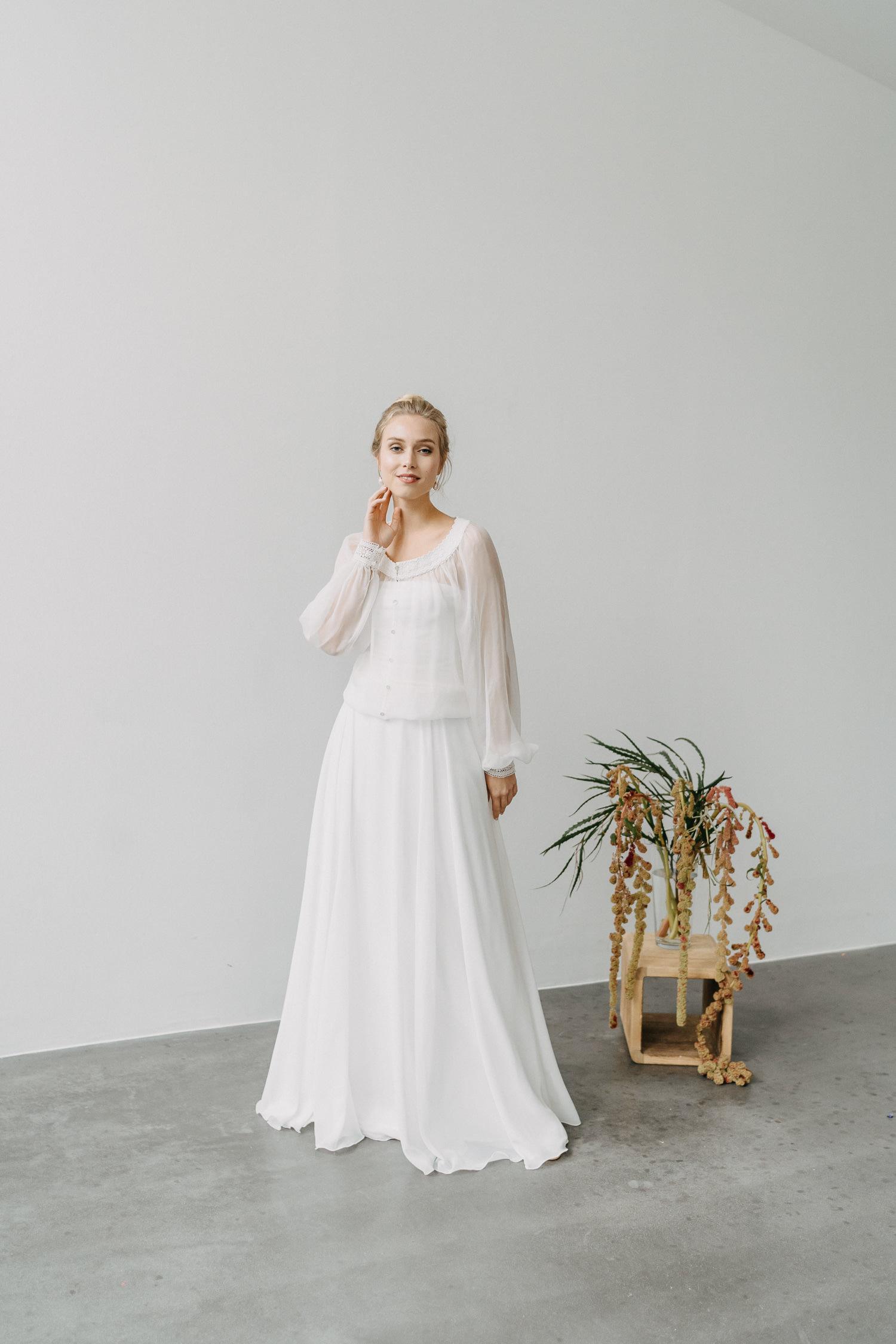 Braut Zweiteiler langer Rock Chiffon