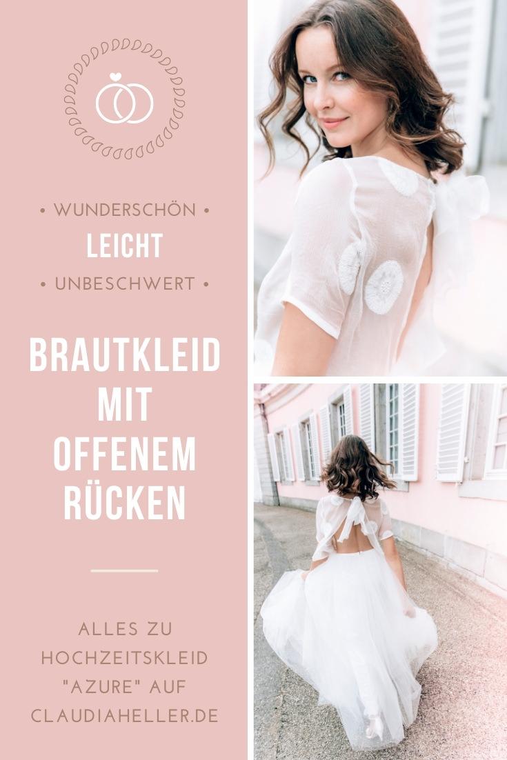 Leichtes Hochzeitskleid Azure mit offenem Rücken und Chiffonrock von Claudia Heller Brautmode Köln